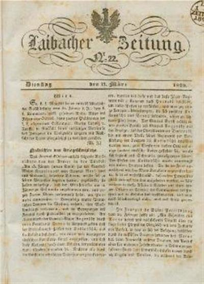 Image from object titled Laibacher Zeitung 1829 03 17