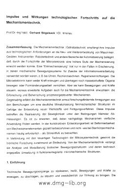 Image from object titled Impulse und Wirkungen technologischen Fortschritts auf die Mechanismentechnik