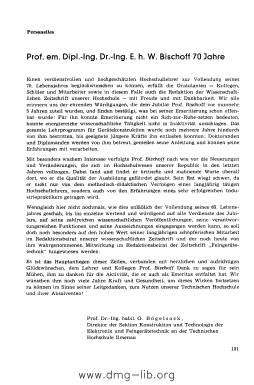 Image from object titled Prof. em. Dipl.-Ing. Dr.-Ing. E. h. W. Bischoff 70 Jahre