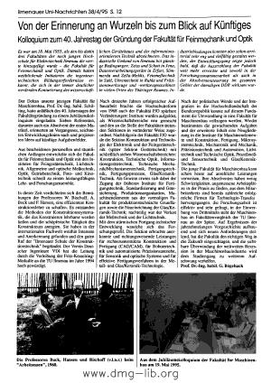 Image from object titled Von der Erinnerung an Wurzeln bis zum Blick auf Künftiges; Kolloquium zum 40. Jahrestag der Gründung der Fakultät für Feinmechanik und Optik