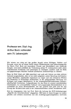 Image from object titled Professor em. Dipl.-Ing. Arthur Bock vollendet sein 75. Lebensjahr