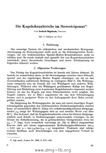 Image from object titled Die Kugelschraubtriebe im Stereotrigomat
