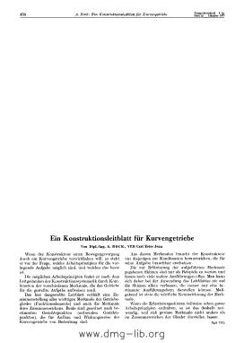 Image from object titled Ein Konstruktionsleitblatt für Kurvengetriebe
