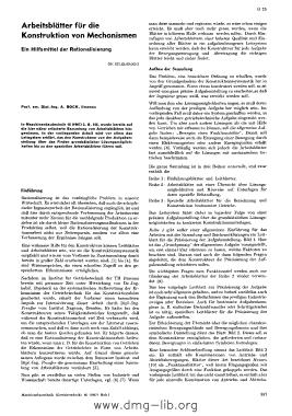 Image from object titled Arbeitsblätter für die Konstruktion von Mechanismen; ein Hilfsmittel der Rationalisierung