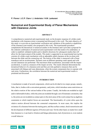 Image from object titled Numerical and Experimental Study of Planar Mechanisms with Clearance Joints