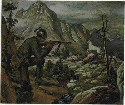 Lovec strelja Zlatoroga, upodobitev Maksima Gasparija.
