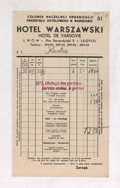 """Image from object titled Aleksandro Račkaus rankraščių fondas. I : Asmens ir buities dokumentai. - 1912-1940. 8, 18 : [Milano viešbučio """"Terminus"""", Romos, Varšuvos, kitų viešbučių, restoranų sąskaitos A. Račkui; kelionių bilietai]. [Viešbučio """"Hotel Warszawski"""" sąskaita, Lvovas] / Aleksandras Račkus. - 1939"""