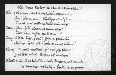 Kněžna Libuše, operní libreto - jednání první