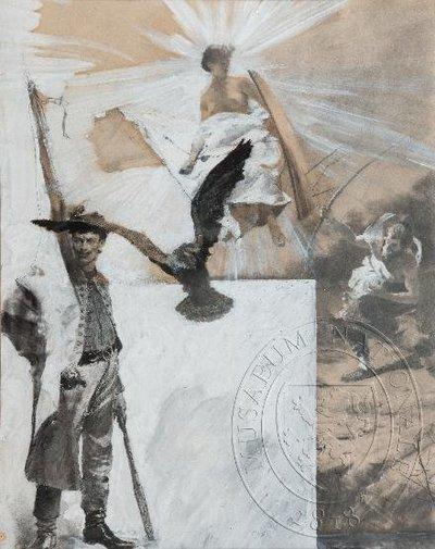 Kresba na titulní stranu památníku II. a III. všesokolského sletu