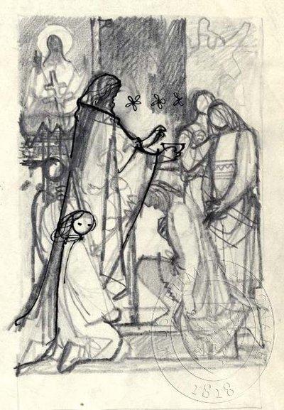 Biskup kropící z misky klečícího muže uprostřed skupiny postav