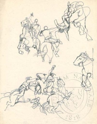 Studie bojujících postav na koních