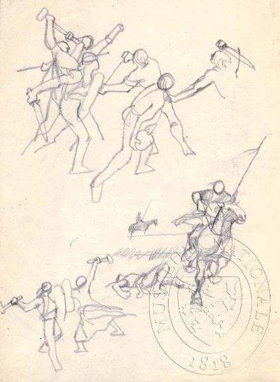 Studie bojujících postav a koně