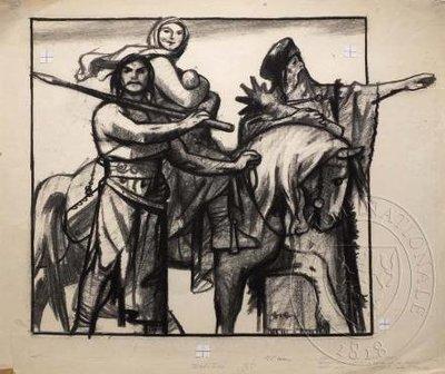 Skupina lidí s koněm, muž ukazující do dálky