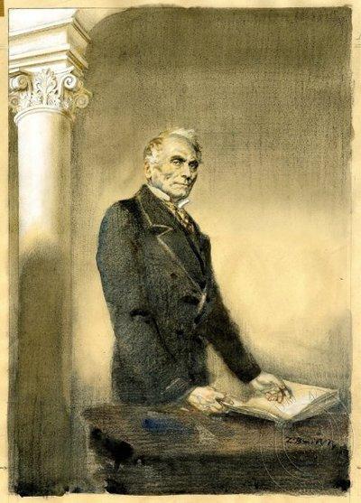 Jan Evangelista Purkyně s knihou