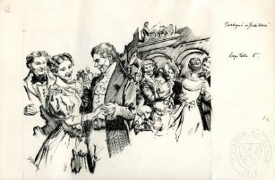 Jan Evangelista Purkyně tančící se svou nevěstou