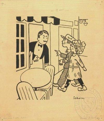 Ilustrace - Henry pozoruje lidi
