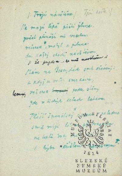 rukopis básně P. Bezruče Trojí návštěva