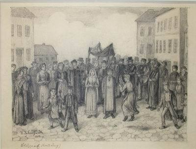 Image from object titled Jewish Wedding in Poland, Chuppa