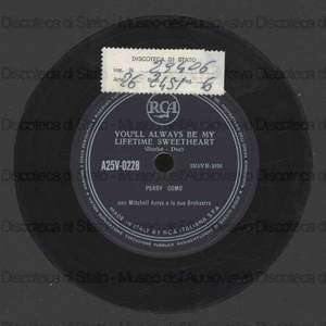 Image from object titled You'll always be my lifetime sweetheart ; Ko ko mo / Perry Como ; Orchestra Ayres ; Mitchell Ayres, direttore
