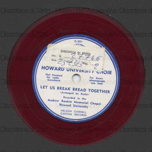 Image from object titled Let us break bread together ; Alma Mater / Howard University Choir