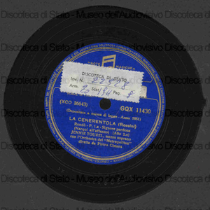 Image from object titled La Cenerentola : Signore perdona / Rossini ; Jennie Tourel , mezzosoprano ; Orch. del Metropolitan diretta da P. Cimara