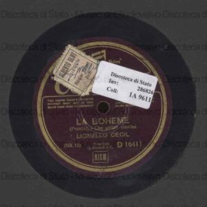 Image from object titled La Boheme : Che gelida manina / Puccini. I Pescatori di Perle : Mi par d'udir ancora / Bizet ; [in entrambi] Lionello Cecil