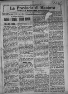 Image from object titled La Provincia di Mantova : giornale della democrazia (1909:A. 23, lug., 31, fasc. 202)
