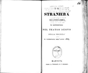 Image from object titled La Straniera : melodramma