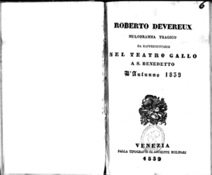 Image from object titled Roberto Devereux : melodramma tragico