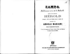Image from object titled Zampa : melodramma in tre atti