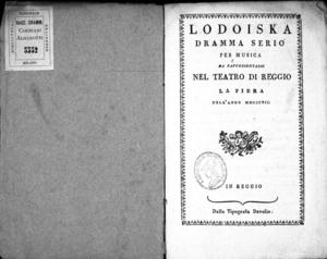 Image from object titled Lodoiska dramma serio per musica da rappresentarsi nel Teatro di Reggio la fiera dell'anno 1807
