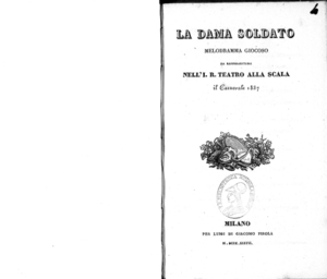 Image from object titled La dama soldato : melodramma giocoso