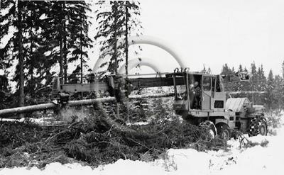 """""""Logma T-300"""" (alkuperäinen kuvateksti). Ruotsalainen Logma Ab:n prosessori karsii kuusirunkoa hakkuuaukealla Harvialassa. Peruskoneena Sandbergs Mek. Verkstad -yhtiön SMV 21 P -metsätraktori."""