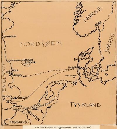 Kort Over Nordsoen Med Doggerbankerne Hvor Soslaget Stod