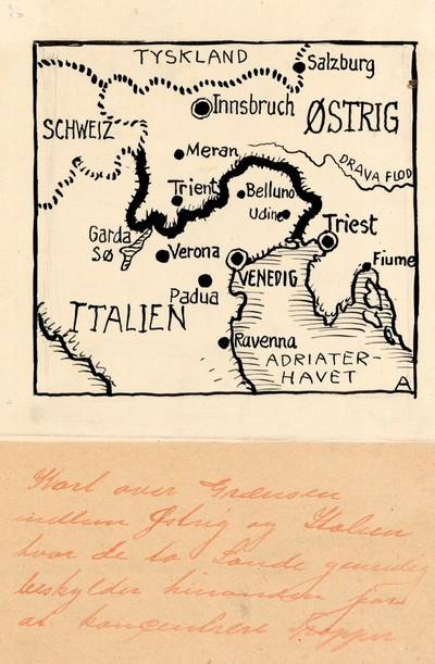 Kort Over Graensen Mellem Ostrig Og Italien Hvor De To Lande