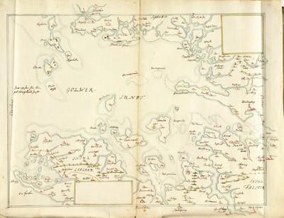 60 tegnede Karter over danske Provindser, paa meget faae nær alle af Joh. Meyer, copierede af Jac. Langebek.; Smålandsfarvandet