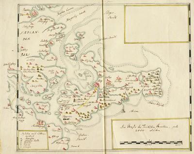 60 tegnede Karter over danske Provindser, paa meget faae nær alle af Joh. Meyer, copierede af Jac. Langebek.; [Die Insul Móen]