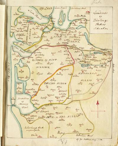 60 tegnede Karter over danske Provindser, paa meget faae nær alle af Joh. Meyer, copierede af Jac. Langebek.; Lundenæs og Bóvling Amters Situation