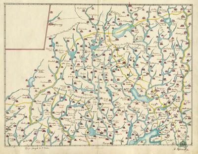 60 tegnede Karter over danske Provindser, paa meget faae nær alle af Joh. Meyer, copierede af Jac. Langebek.; Terrænet nordvest for Ronneby