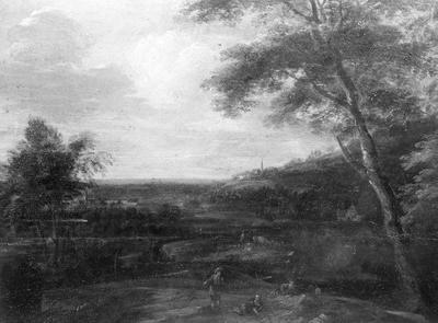 Landschap met twee figuren op het voorplan