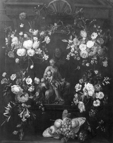De H. Familie met Sint-Janneke in een bloemenguirlande