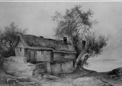 Maison au bord de la mer (paysage avec chaumière)