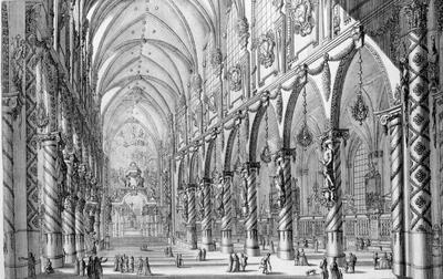 Vue de la décoration de l'église des Saints-Michel et Gudule à Bruxelles...
