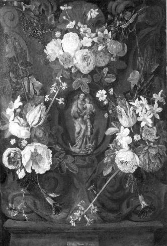 Madonna in een bloemenkrans