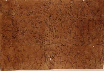 Album d'Arenberg : histoire d'Endymion - scène bachique (d'après un relief de sarcophage)