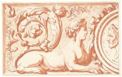 Füllung mit Sphinx, Akanthus und Medaillon