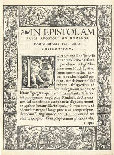 Randverzierung mit kämpfenden und scherzenden Knaben, unten das Symbol des Johannes Froben