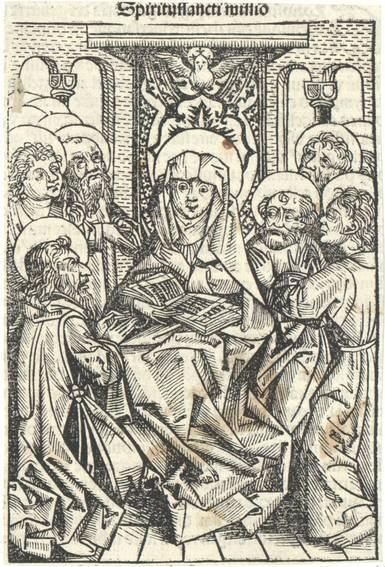 Maria mit Heiligen. Aus Hartmann Schedel's lateinischer Ausgabe der Weltchronik ausgeschnitten