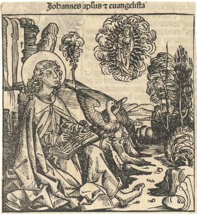 Der Evangelist Johannes. Aus Hartmann Schedel's lateinischer Ausgabe der Weltchronik ausgeschnitten