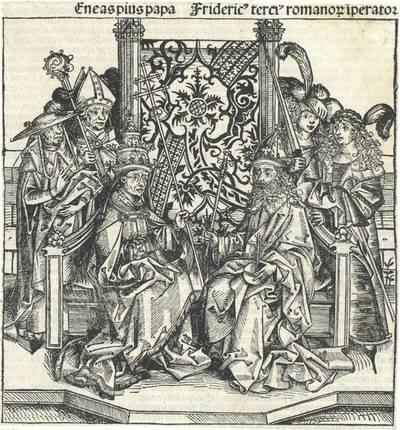 Papst Pius und Friedrich III. Aus Hartmann Schedel's lateinischer Ausgabe der Weltchronik ausgeschnitten